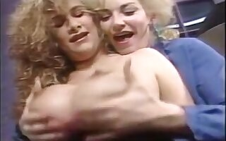 Retro busty lesbian sluts enjoying erotic oil massage