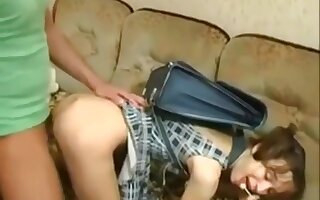 Cute russian teen seduces and plays with an oldman