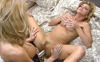Horny pornstars Nina Hartley and Shayla LaVeaux in best blowjob, vintage porn clip